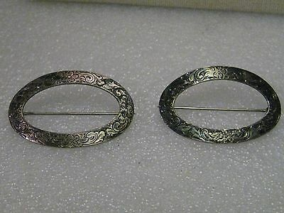 Vintage Pair of 1800's Victorian Engraved Floral Oval Brooches, Signed R.B.
