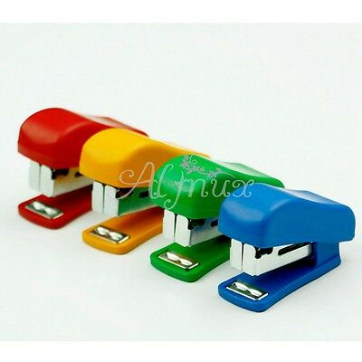 Portable Mini Stapler Paper Punch With Staples 10 Sewer Sheet Summer Colours