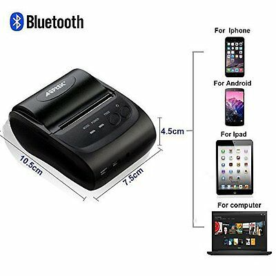Mini Bluetooth Wireless Portable 58mm Thermal Receipt POS Printer fr Android IOS