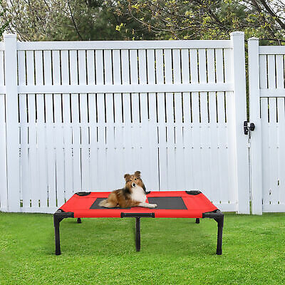 PawHut Elevated Pet Bed Dogs Cat Cot Cozy Bed Camping Sleeper Cooling W/ Support