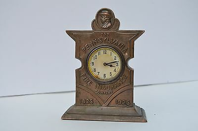 Antique Bronzed Spelter Clock For Pennsylvania Fire Insurance  Co.1825-1925