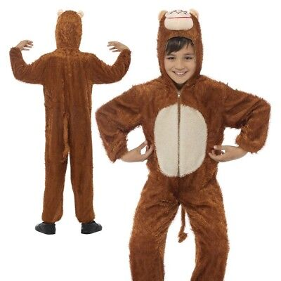 Childs Cheeky Monkey Costume Brown Zoo Animal Fancy Dress Up