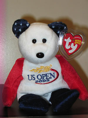 Ty Beanie Baby ~ SMASH the US OPEN 2005 Bear ~ MINT with MINT TAGS ~ RETIRED