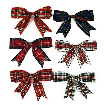 "100mm TARTAN Large Double Bows Ribbon Bows With Tails 4"" Beautiful 4/8/20 Large"