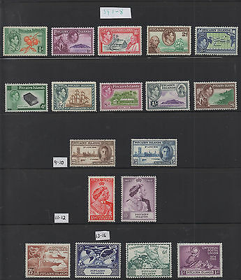 Pitcairn Islands. GVI - 1940-1949. Collection x 4 unmounted mint sets.