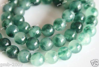 "6mm 8mm Beautiful Natural Green Emerald Round Gemstone Loose Beads 15""AA"