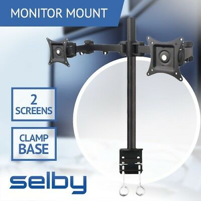 "Up to 22"" 10kg Dual LCD 2 Screen Monitor Desktop Mount Stand Clamp Base VESA"