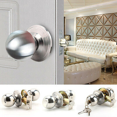 Stainless Steel Door Knobs Handles Entrance Privacy Passage Lock Latch UK