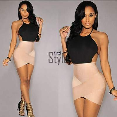Sexy Women Summer Bodycon Bandage Halter Party Cocktail Evening Mini Dress TXST