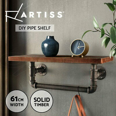 Artiss Rustic Industrial DIY Pipe Shelf Bookshelf Vintage Wall Mounted Towel