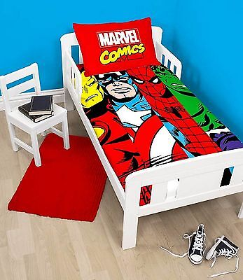 Marvel Avengers Comics Duvet Quilt Cover Bedding Set Boys Junior Toddler Cot Bed