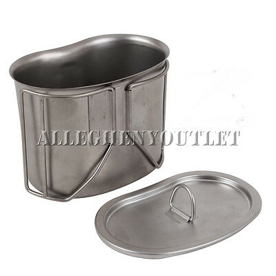 New G.I. Type HEAVY DUTY Stainless Steel Canteen Cup with Lid, Military
