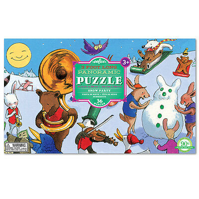 eeBoo Snow Party Panoramic 36 Piece Puzzle PZPAR Free US Shipping