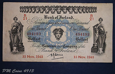"1943 Bank of Ireland, One pound, £1 note Prefix ""B21"" Adams [lot4913]"