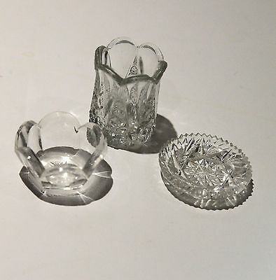 Vintage Collectible Crystal Small Trinket Dishes, Set of 3 Free Shipping