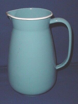 "Antique Graniteware Light Blue Enamelware Large Water Pitcher 12"" Bw Germany"