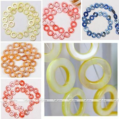 Multicolor Mop Shell Round Donut Hoop Loose Bead Diy Necklace Jewelry Gift