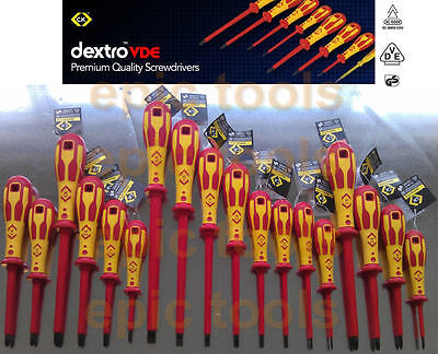 CK DEXTRO Insulated VDE Screwdrivers Choose From Pozi Phillips Slotted Modulo