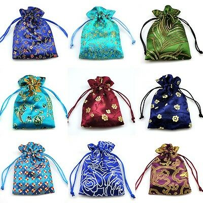 Satin Jewellery Pouches Drawstring Patterned Gift Bags Premium Quality