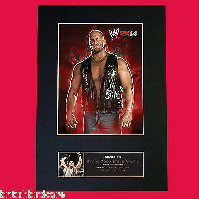STONE COLD STEVE AUSTIN WWE Signed Autograph Mounted Photo Repro A4 Print 500