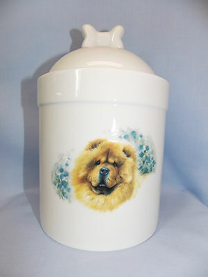 Chow Chow Dog Porcelain Treat Jar Fired Head Decal on Front 8 In Tall
