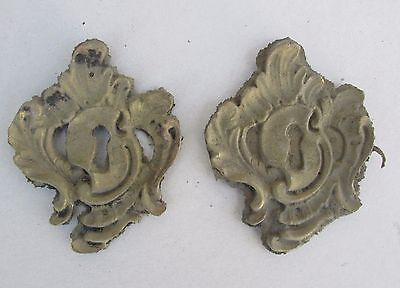 Pair Vintage Unfinished Brass Bronze French Style Escutcheons Keyhole Covers