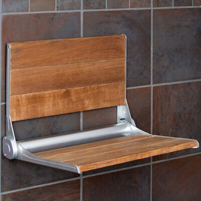 "Clevr 18"" ADA Compliant Folding Teak Wood Shower Bench Seat Medical Wall Mount"