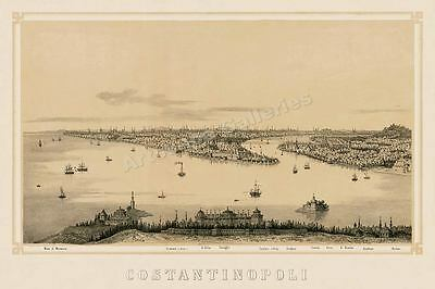 1850 Constantinople (Istanbul), Turkey Historic Vintage Style Wall Map - 16x24