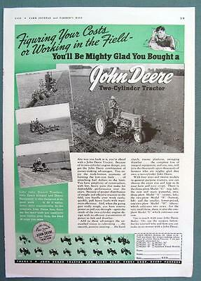 MIGHTY GLAD YOU BOUGHT A DEERE 2 CYLINDER Original 1939 John Deere Tractor Ad
