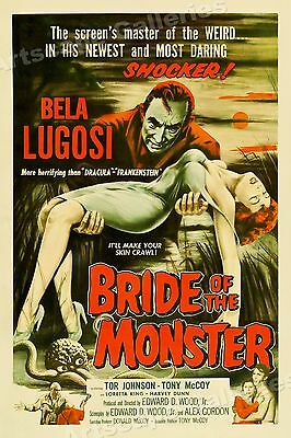 Bride of the Monster 1950's Old Vintage Horror Movie Poster - 16x24