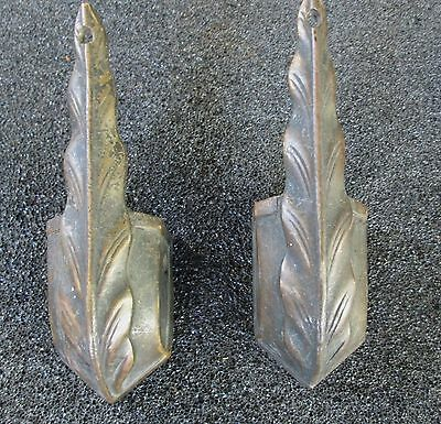 Fancy Pair Of Antique Solid Brass Furniture Feet / Shoes / Caps
