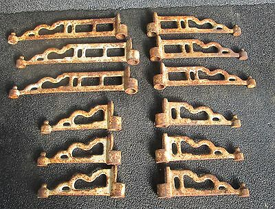 Lot Of 12 Vintage Victorian Style Cast Iron Plant Stand Hooks No Base