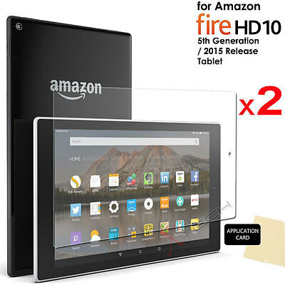2x CLEAR Screen Protector Covers for Amazon Fire HD 10 Tablet (2015/5th Gen)