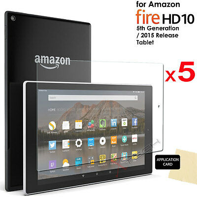5x CLEAR Screen Protector Covers for Amazon Fire HD 10 Tablet (2015/5th Gen)