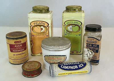 Lot 7 vtg Drug Store tins jars Powder Rouge pot HAtlas Vanishing Cream Vaseline