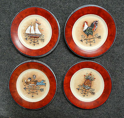 """7 Pc Jcpenney Susan Winget Weathervane Salad Plates, 8"""", Rooster, Sailboat Etc"""