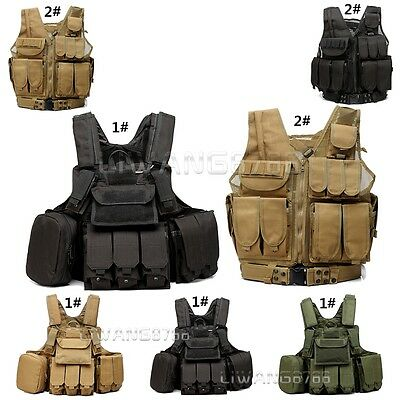 Black Green Tactical Vest Combat Assault Airsoft Paintball Army Molle Attachment