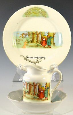 1902 Foley 'babes In The Wood' Children's 3-Piece Set, Plate, Bowl, Pitcher