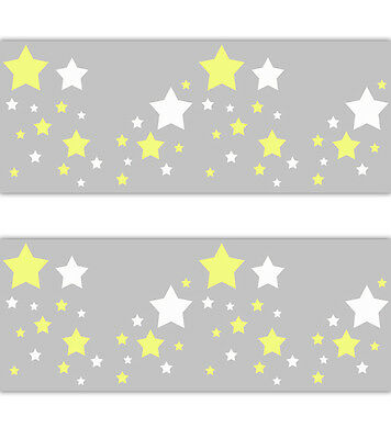 Star Nursery Decal Wallpaper Border Yellow White Grey Gender Neutral Art Sticker