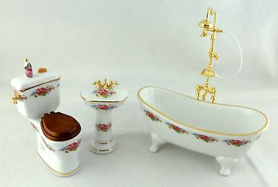 Melody Jane Dolls Houses 1:12 Furniture Porcelain Dresden Rose Bathroom Suite