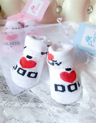 Sock Ons Sock Keepers Size 0-6 Months - Love Dad & Love Mum