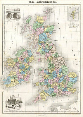 MP10 Vintage 1878 Map Of British Isles Britain Poster Re-Print  A2 A3