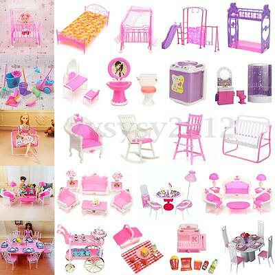 Dollhouse Furniture Miniature Accessories For Barbie Bathroom Living Room Toys
