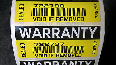 Warranty Seals COLOUR security stickers labels Tamper evident protection 70x30mm