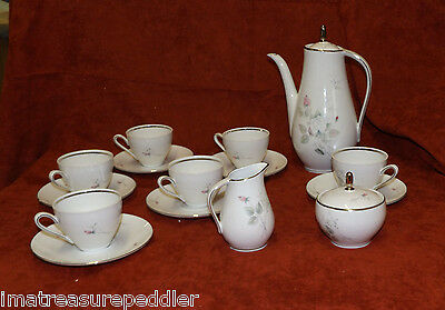 Winterling Pink Roses Rosebuds Coffee / Tea Set 17 pc Service for 6