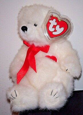 1993 Ty Attic Treasures ~ AMORE the White Bear ~ MINT with MINT TAGS ~ RETIRED