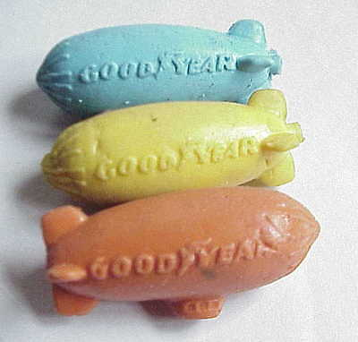 VERY Vintage Toy Goodyear Rubber Blimp x 3