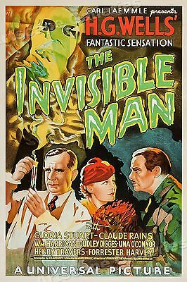 The Invisible Man 1933 Vintage Old Sci-Fi Movie Poster - 16x24
