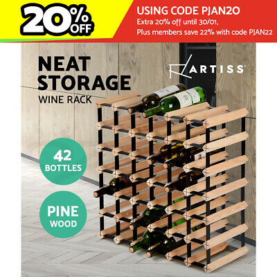 Artiss 42 Bottle Wine Rack Storage Timber Wooden Wall Racks Organiser Holder