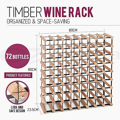 72 Bottle Timber Wine Rack Wooden Storage Cellar Vintry Organiser Stand